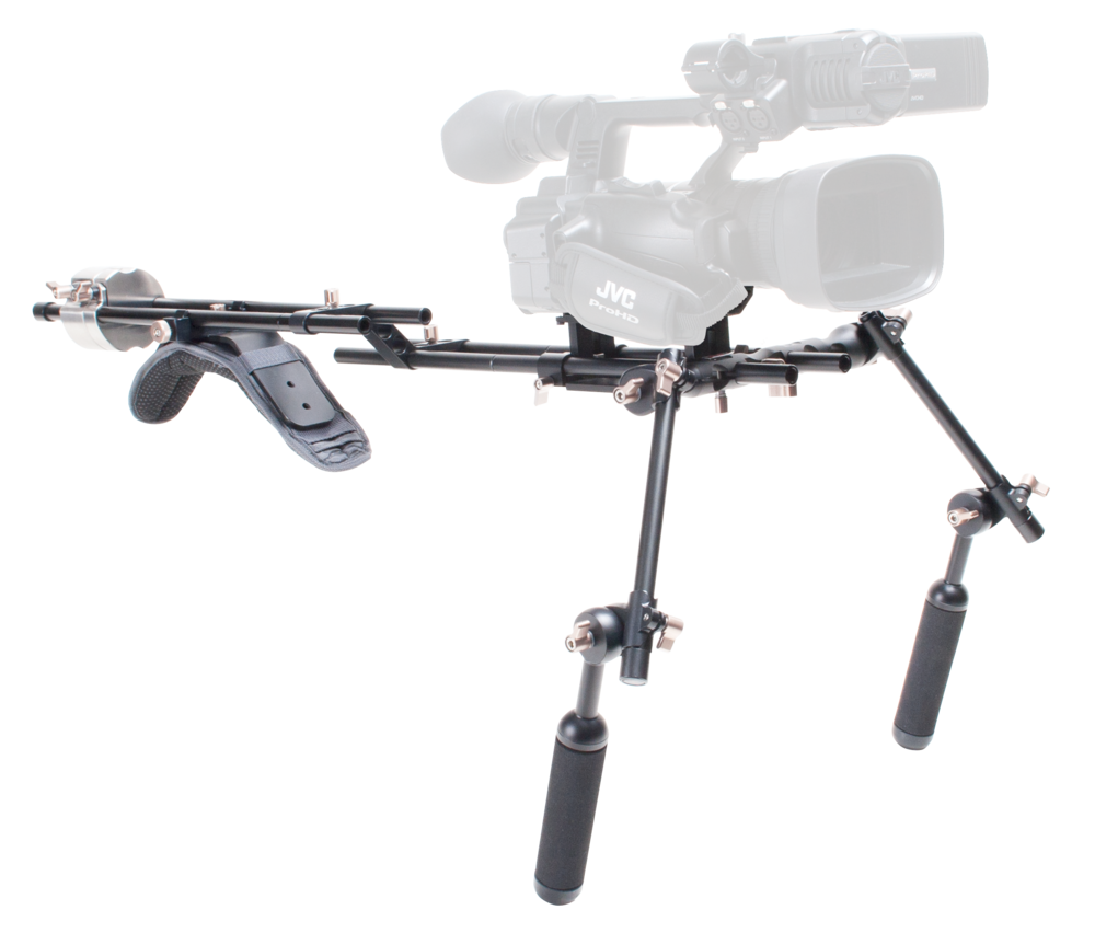 Genustech shoulder rig on user's shoulder