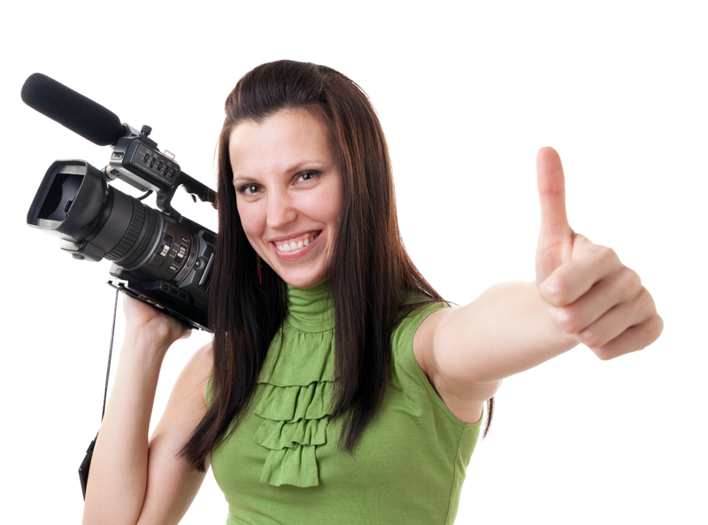 """Shot of a young woman with a video camera giving a """"thumbs up"""" sign."""