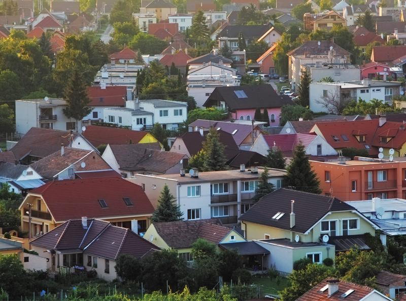 Rooftop aerial view of a neighborhood.