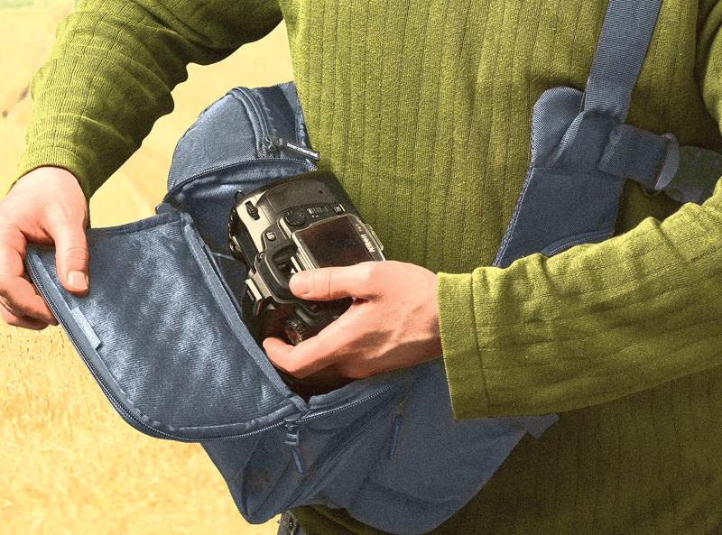 Camera in bag with shoulder strap