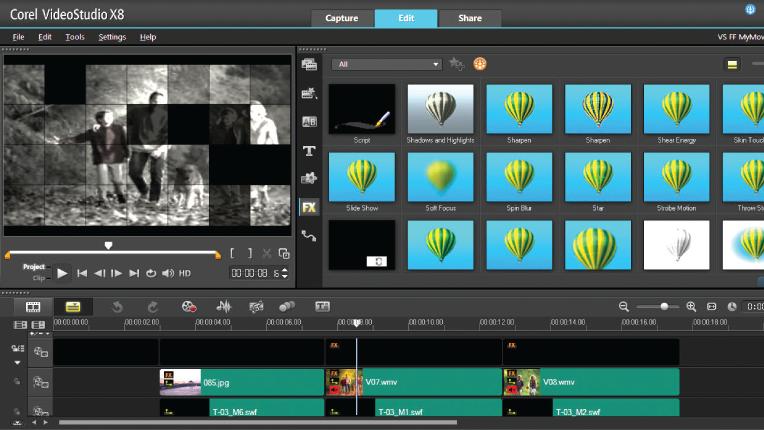 Corel VideoStudio X8 edit library effects