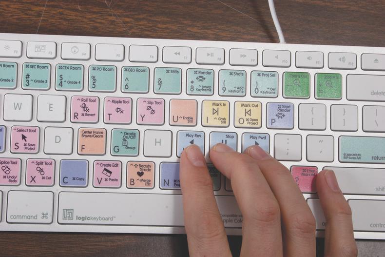 A Final Cut shortcut keyboard being used