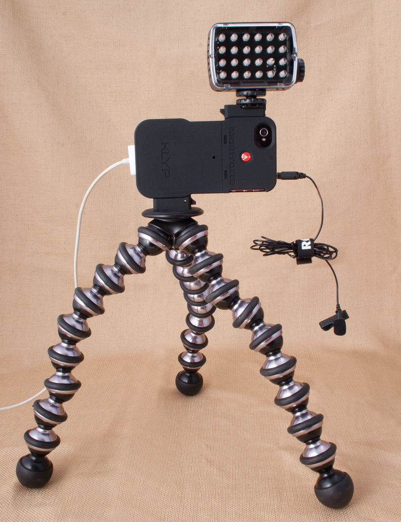 A tricked-out setup that includes Joby tabletop tripod, small on-camera LED light and 1/8-inch lavalier mic.