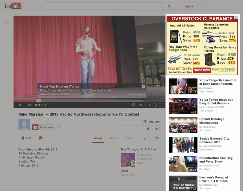screen shot of YouTube's user page layout