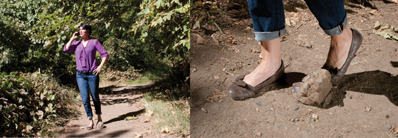 A collage of shots showing a woman walking then tripping over a rock and falling.