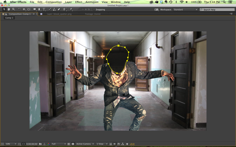 Zombie with head masked out in After Effects