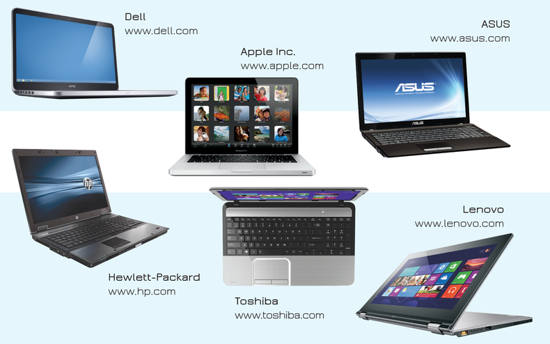 Collection of various laptops: Hewlett Packard, Dell, Lenovo, Asus, Toshiba, Apple, etc