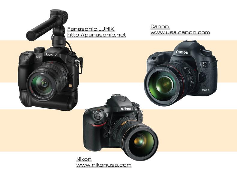 Highlight of three DSLRs - Panasonic, Nikon and Canon