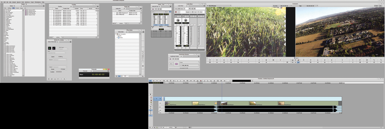 There is a world of difference between using one monitor for editing versus two. Here, you can see that even with a modest amount of windows open, they overlap and can make an edit downright frustrating. In sharp contrast, you can see that having two monitors allows you to have a plethora of tools open along with all of your bins for quick, easy editing.