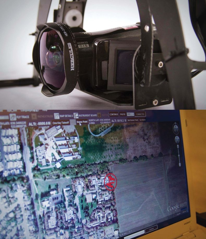 Collage of a closeup of the drone's camera and viewscreen of it's flight path