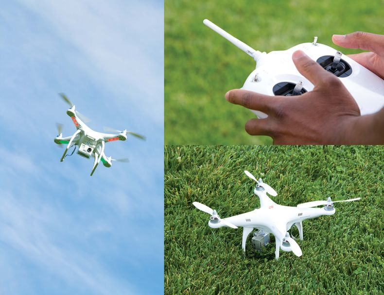 Collage of  closeups of a DJI Phantom drone helicopter on the ground and in the air, and the remote controls.
