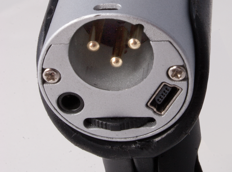 Close up of the back of a special USB/XLR mic port