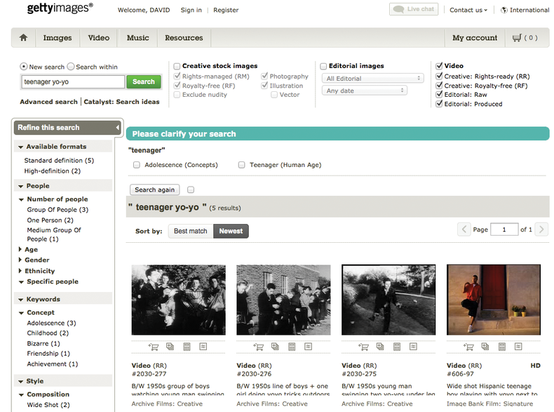 screen shot of Getty images website page with use instructions for  videographers