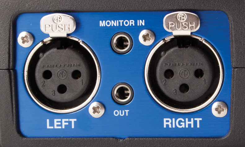 Closeup of Beachtek monitor and XLR in/out plugs