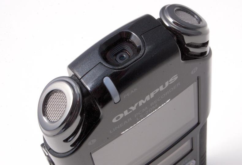 Closeup of camera and stereo mics