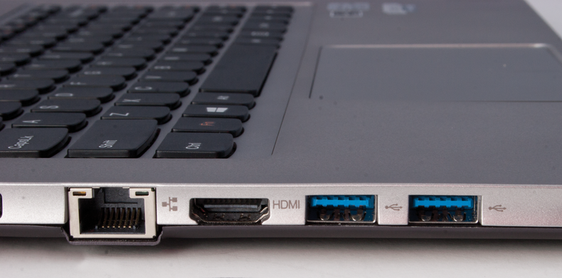 Closeup of the Lenovo U310 touch ports
