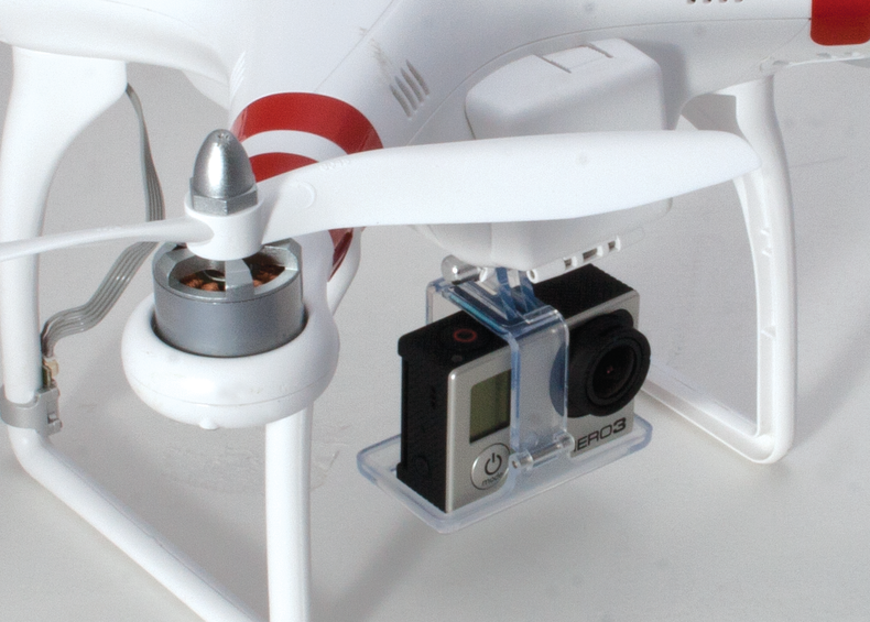 Close up of a GoPro Hero 3 on the under carriage of the DJI Phantom