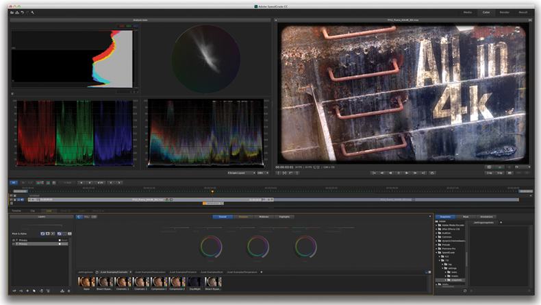 Adobe's Creative Cloud color grading applicaiton, SpeedGrade CC.