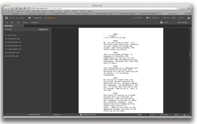 Adobe's Creative Cloud script writing program, Story CC Plus.