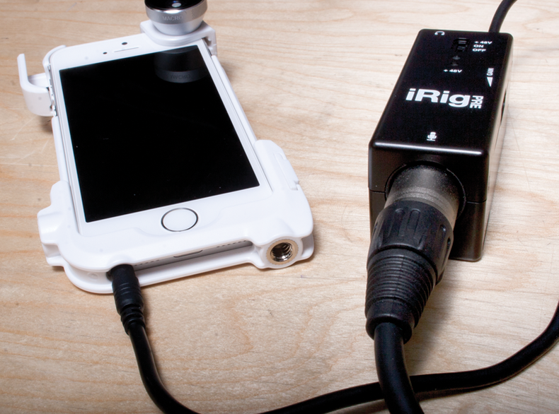 iPhone with iRig audio connector.