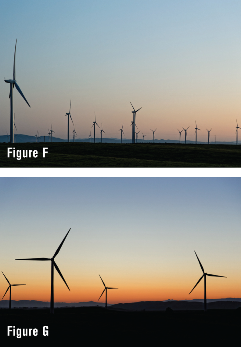 Side-by-side shots of giant windmills. One is shot right at dusk, with limited color. The second one, shot a few minutes later shows the windmills backlit by a nice colorful sunrise.