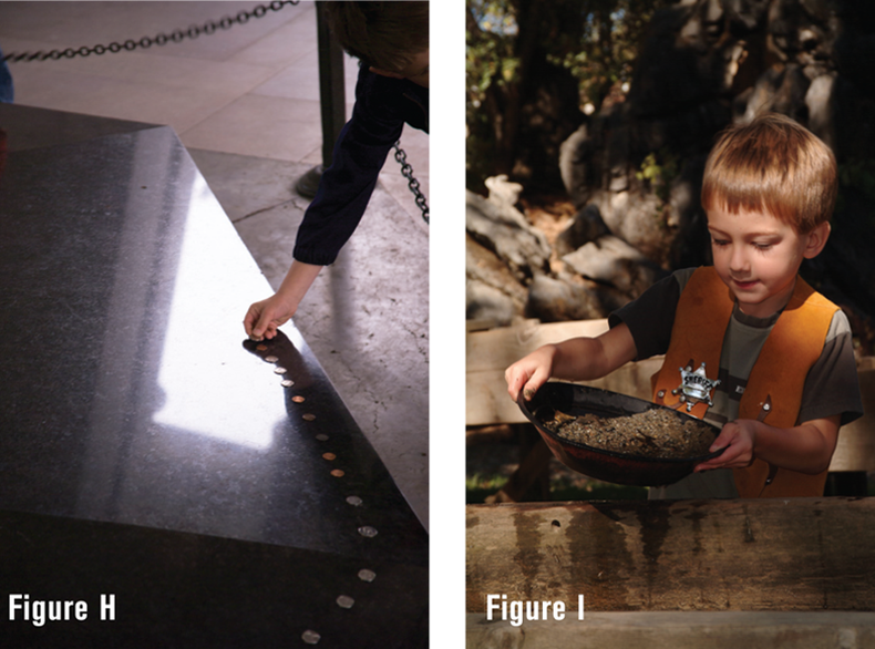 Side-by-side shots of action showing a child laying coins on a dark marble sculpture and a second shot is of the child panning for gold at an old time festival.