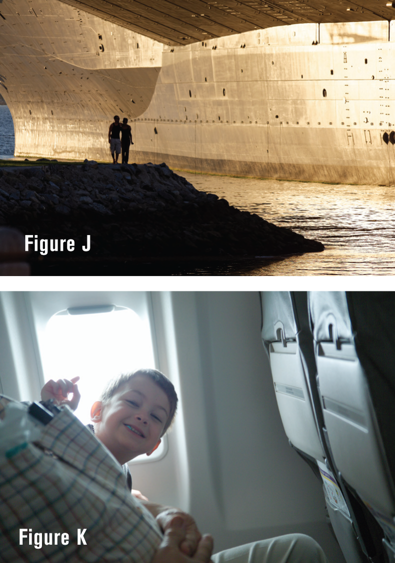 Two shots showing backlit shots. Shot of a well-lit ship entering dock with the people watching backlit, and a slightly washed out shot of a boy on his first plane ride.