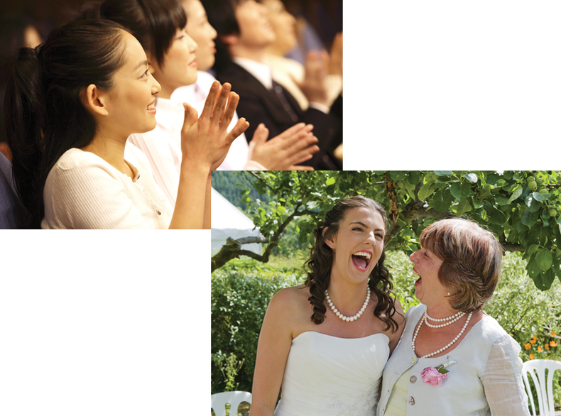 Side-by-side shots of people applauding and 2 women laughing.