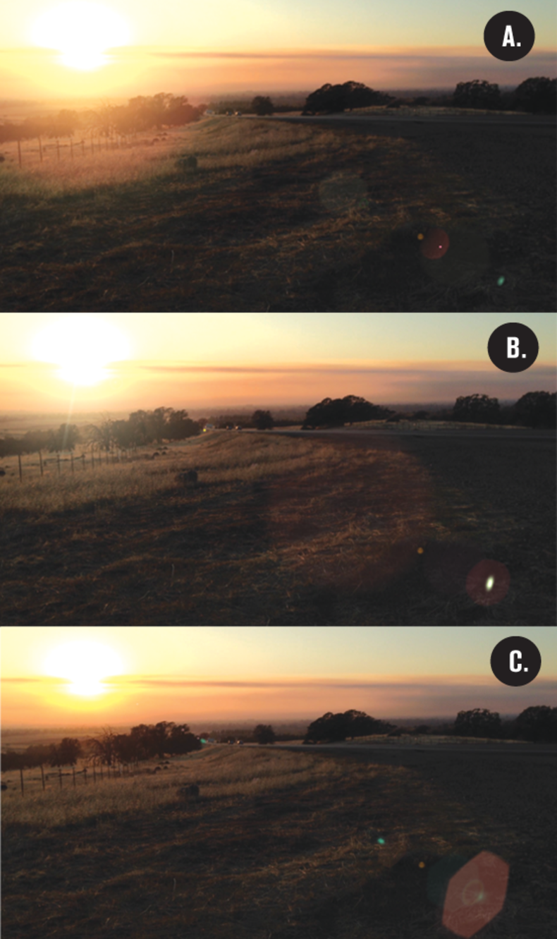 Three scenes with different lens flare examples