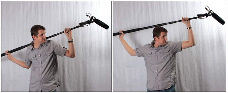 Two shots of a man holding a boom, one balanced on his shoulders, the other high over his head.