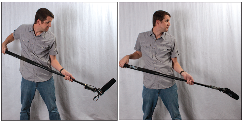 Two shots of a man holding a boom at a low angle. First shot he's looking at the mic, second shot he's distracted.