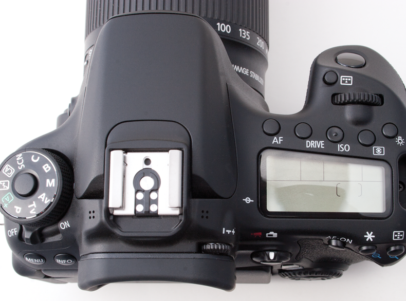 View of the top of the Canon 70D showing dials and controls