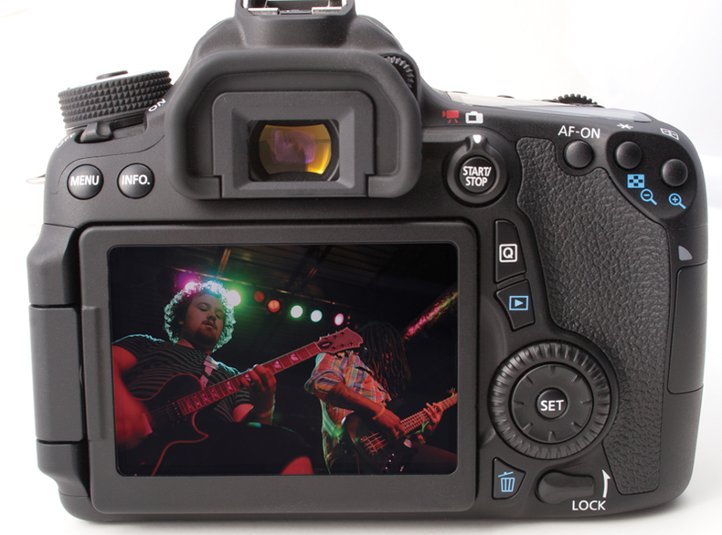 Back view of the Canon 70D controls and articulating LCD screen