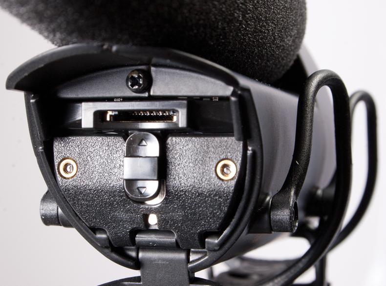 Closeup of the front of the Shure Lens Hopper VP83 Shotgun mic