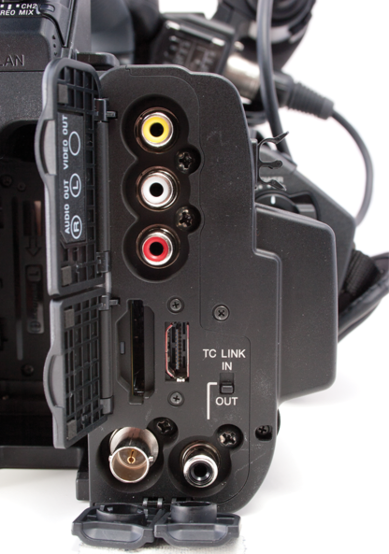 Video outputs and SD card slots.