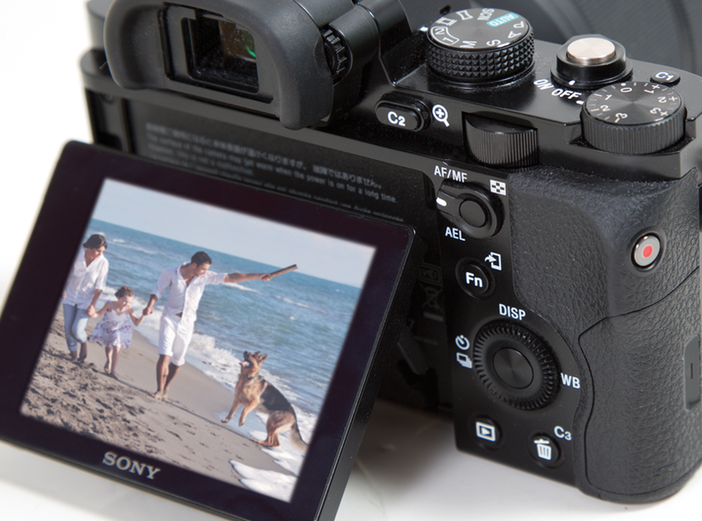 Tilt-out display on the Sony Alpha 7 DSLR
