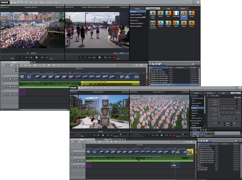 Image of MAGIX Video Pro timeline with transitions and effects properties windows.
