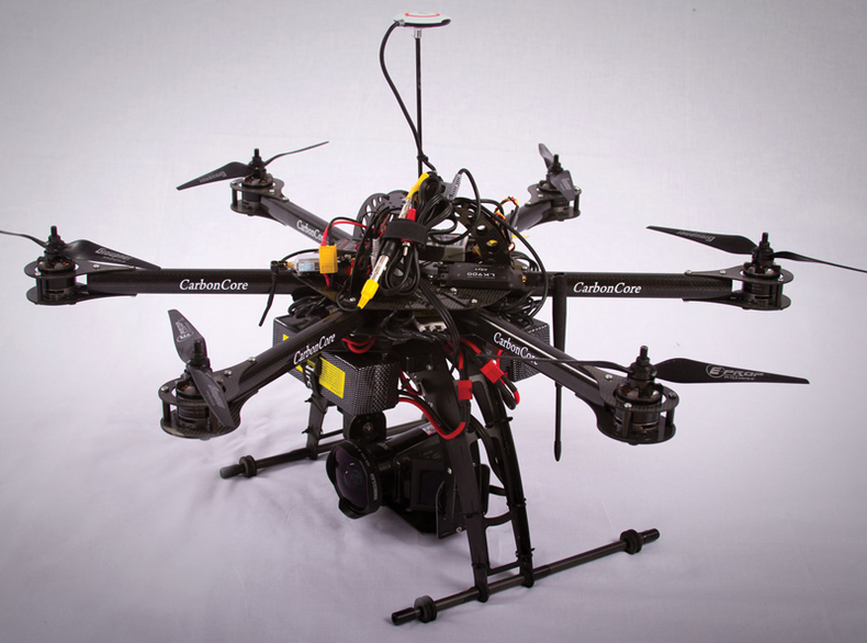 The author's six-bladed multicopter drone setup