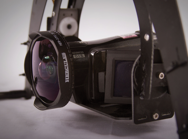 Closeup of the camera with wide angle lens