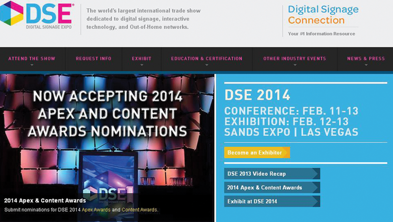 Screen shot of the Digital Signage Expo