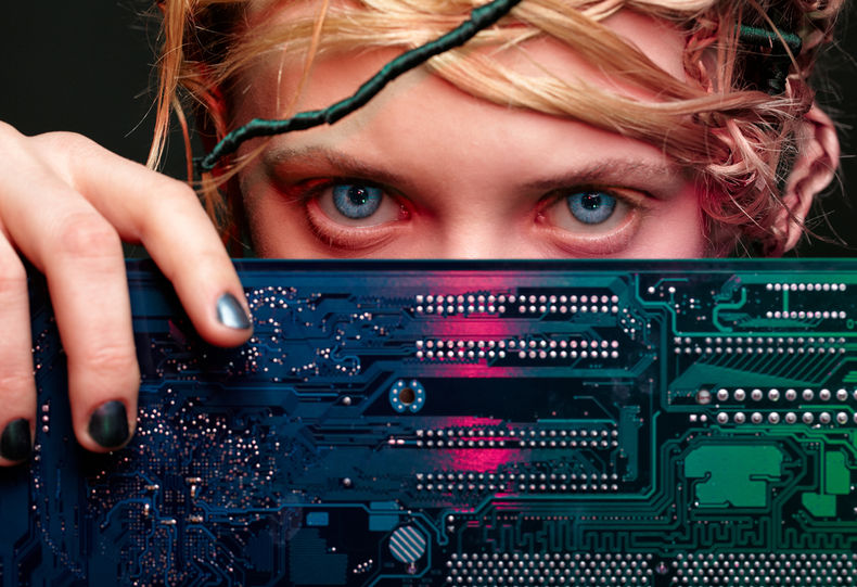 Photo of girl with motherboard