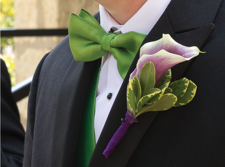 Front of the groom's tux