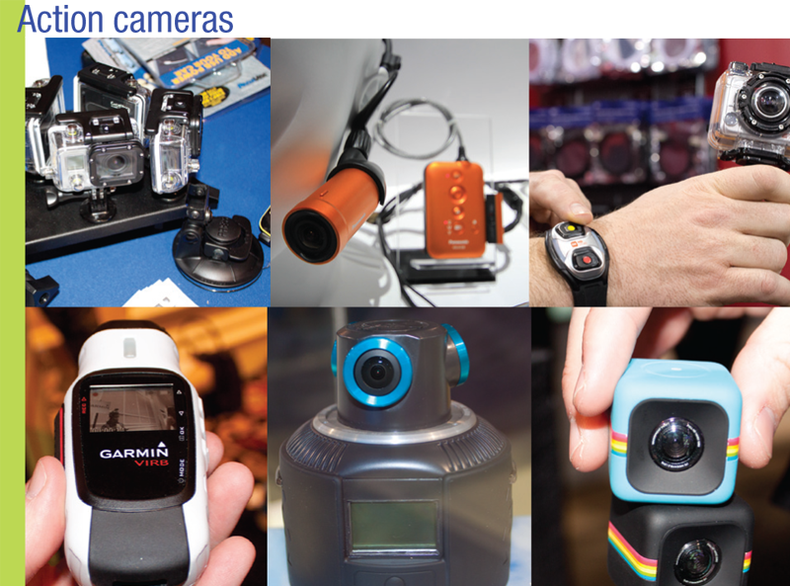 A collection of action/POV cameras with wearable devices.