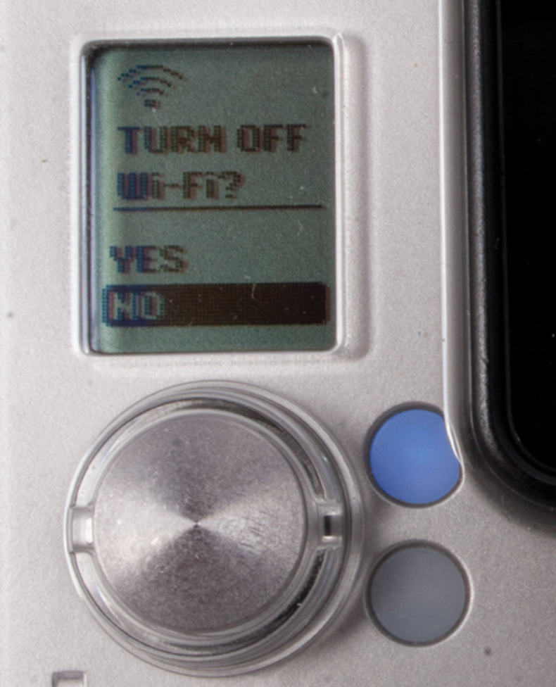 Close up shot of Power/Mode button and display