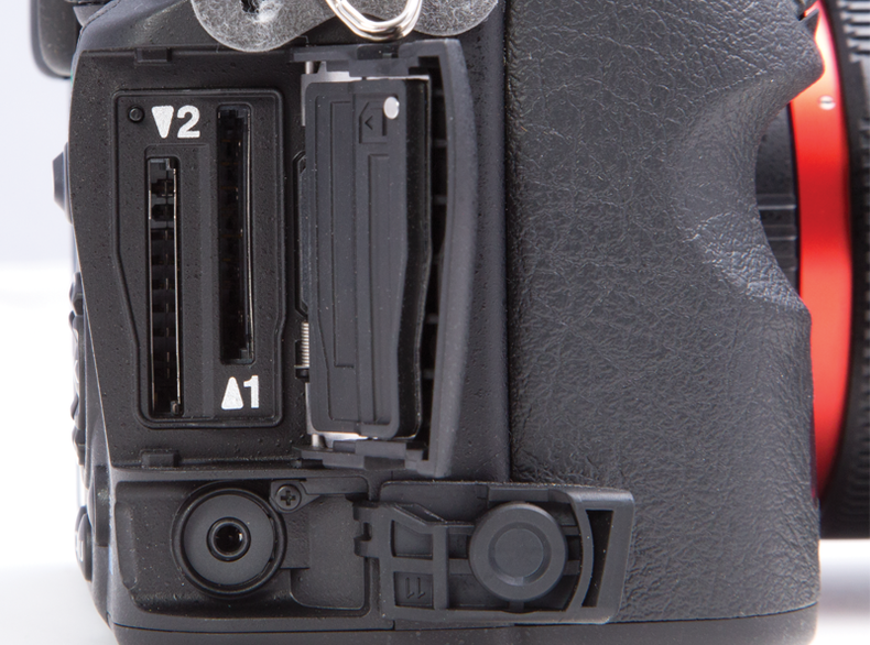 Photo of the side of the Pentax Ricoh K-3 showing inputs and outputs