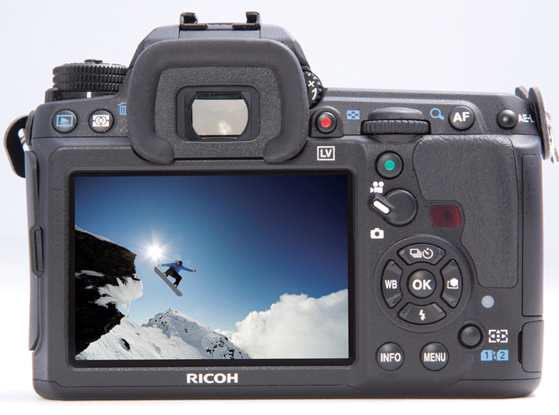 Photo of the rear of the Pentax Ricoh K-3 showing configurable controls