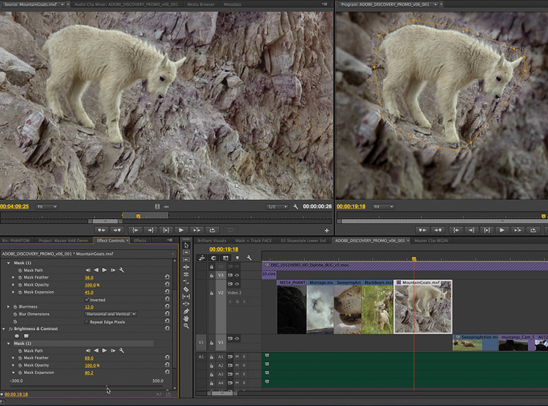 Screen grab of Premiere Pro CC Masking and Tracking