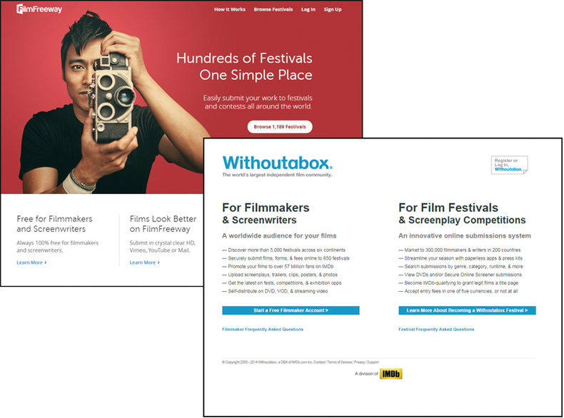 Film festival submission services like FilmFreeway and Withoutabox help streamline the festival submission process.