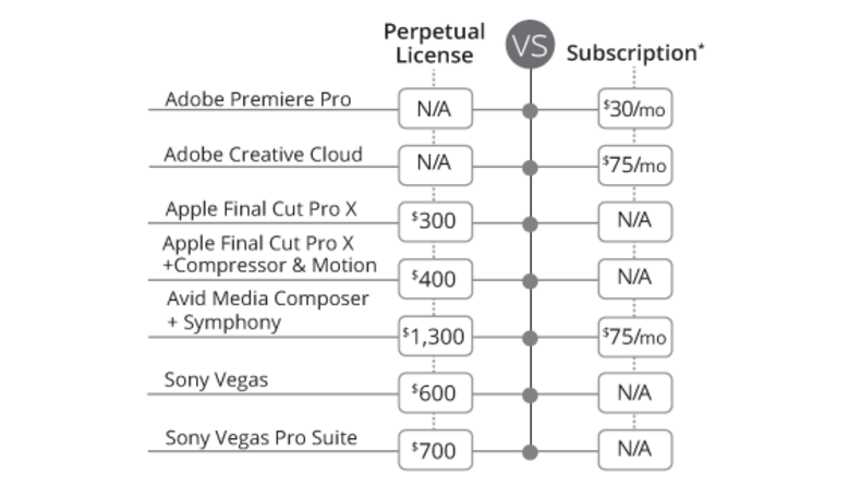 Diagram showing Perpetual License vs Subscription prices and options.