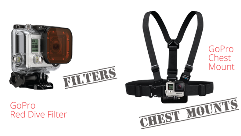 Action Cam GoPro Red Dive Filter and Chest Mount